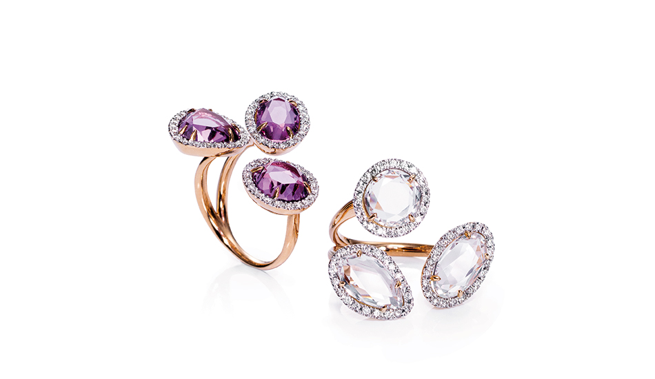 <p>18kt pink gold rings with amethyst,&nbsp;crystal rock and white diamonds</p>