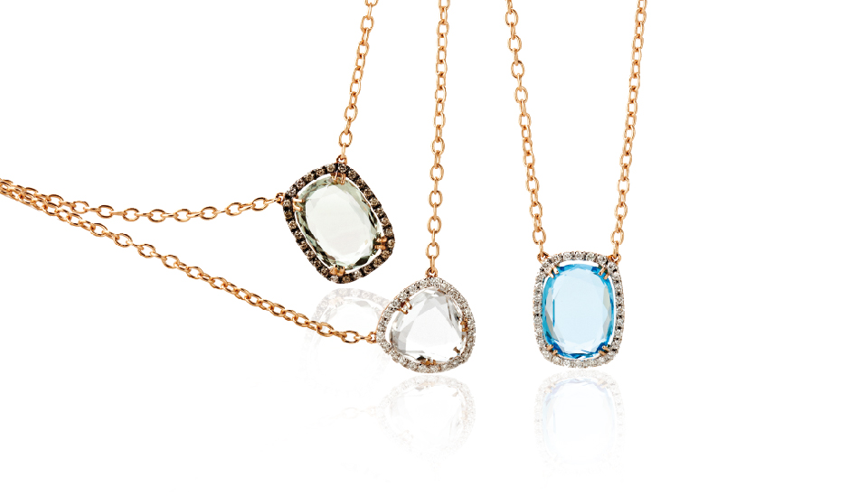 <p>18kt pink gold pendants with prasiolite, crystal rock, blue topaz and diamonds</p>