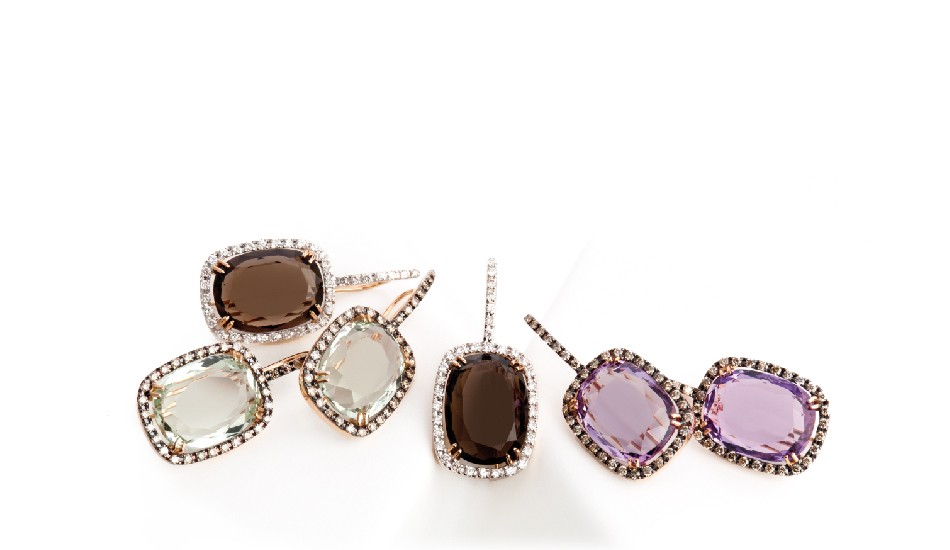 <p>18kt pink gold earrings with smoky quartz, crystal rock, amethyst and diamonds</p>