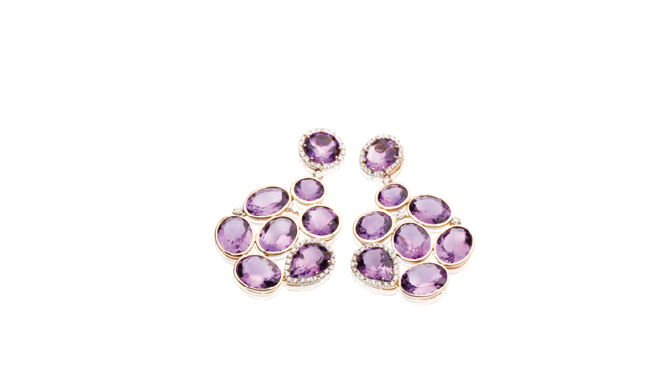 18kt pink gold earrings with amethyst and diamonds