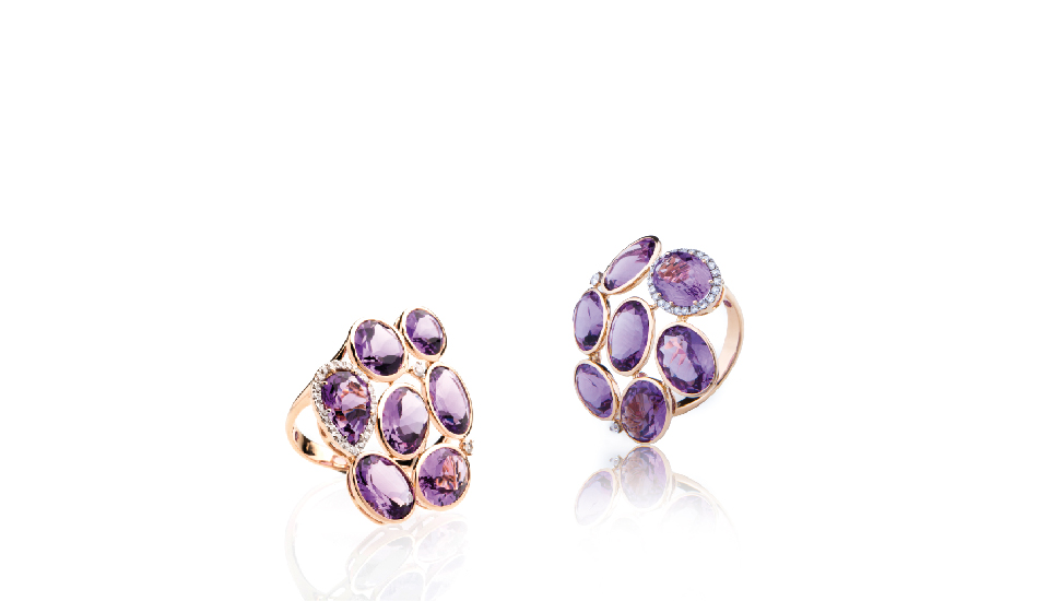 <p>18kt pink gold rings with amethyst and diamonds</p>