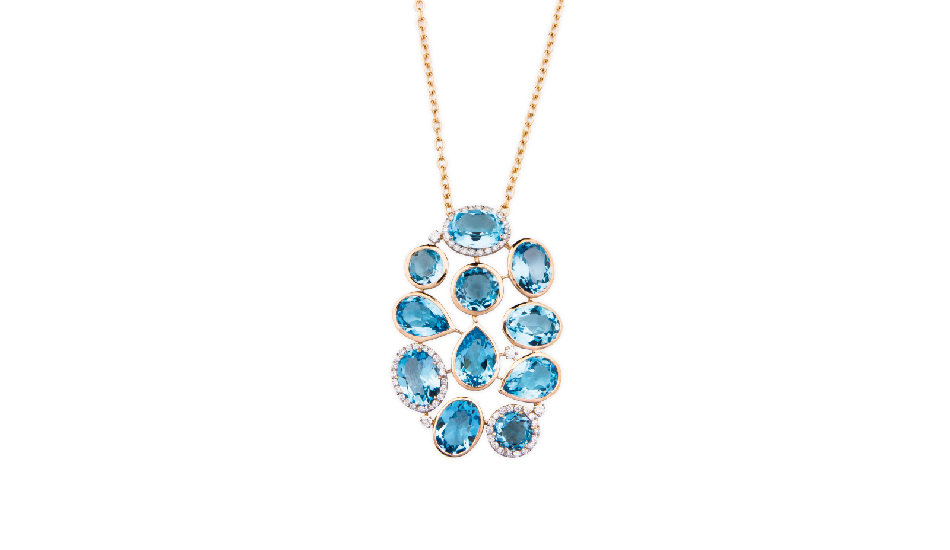 <p>18kt pink gold pendant with blue topaz and diamonds</p>