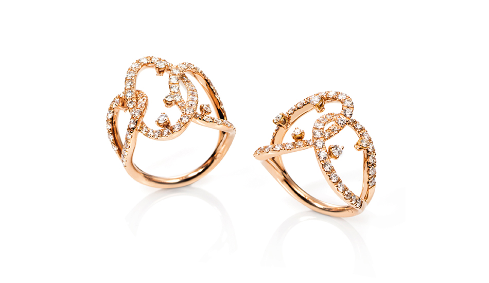 18kt pink gold Rings with white diamonds