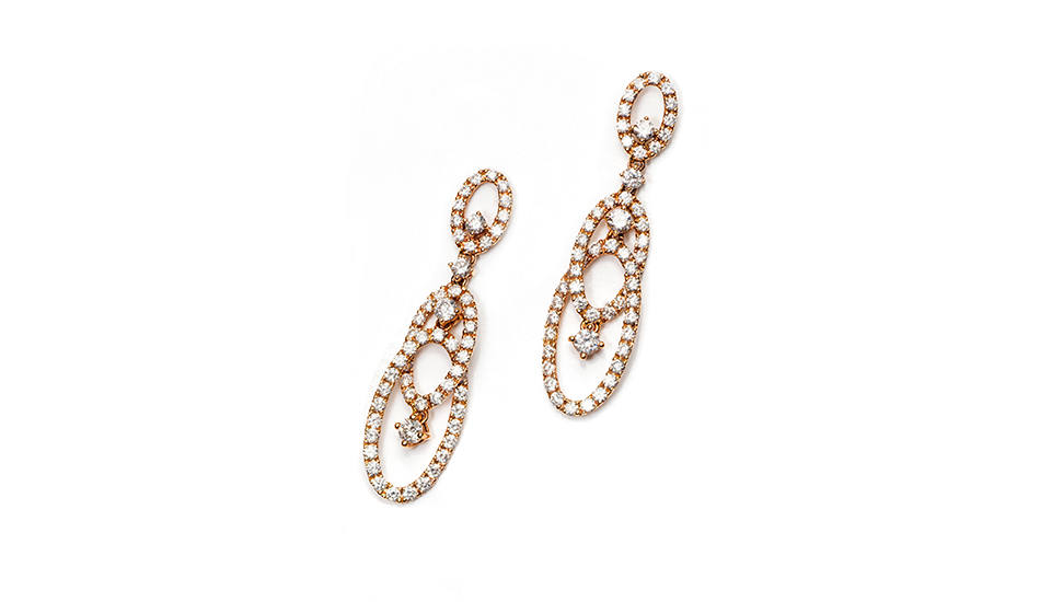 18kt pink gold Earrings with white diamonds