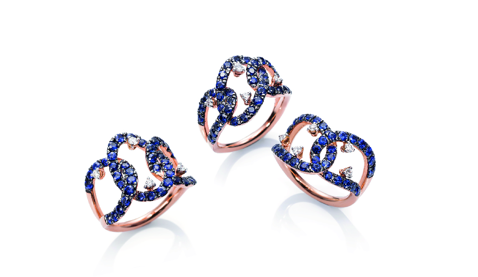 18kt pink gold Rings with sapphires and diamonds