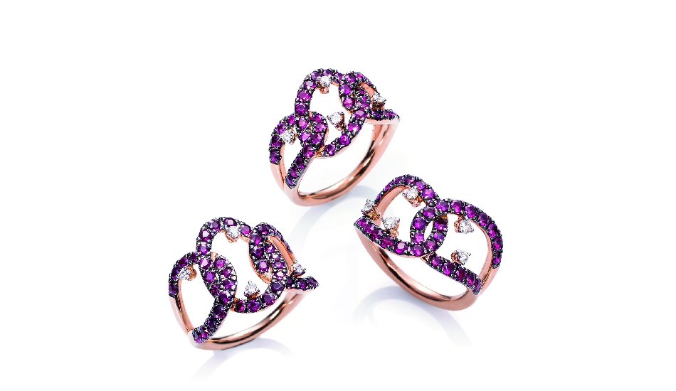 18kt pink gold Rings with rubies and diamonds