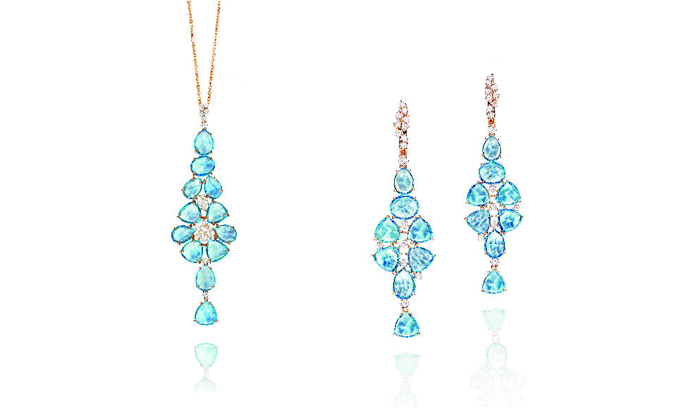 18kt pink gold Pendant and Earrings with blue topaz and diamonds