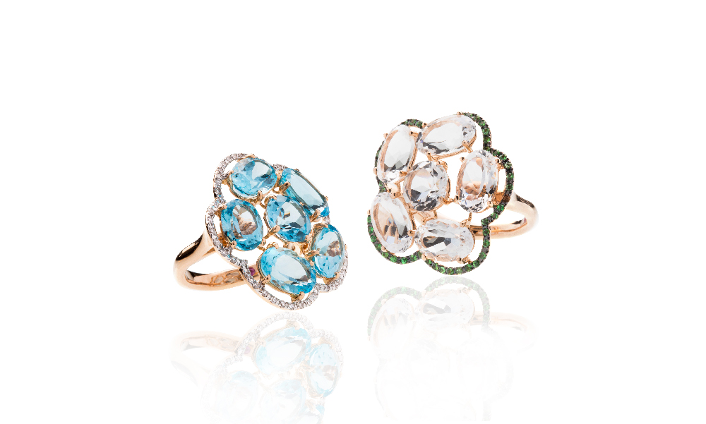 <p>18kt pink gold rings with blue topaz and diamonds and crystal rock and tsavorite</p>