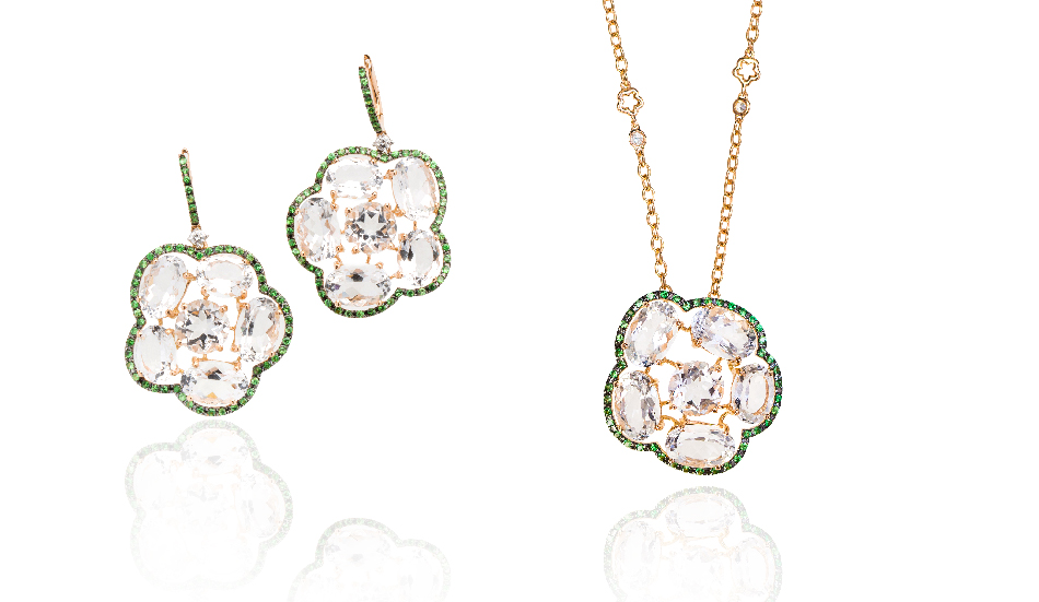 <p>18kt pink gold earrings and pendant with crystal rock and tsavorite</p>