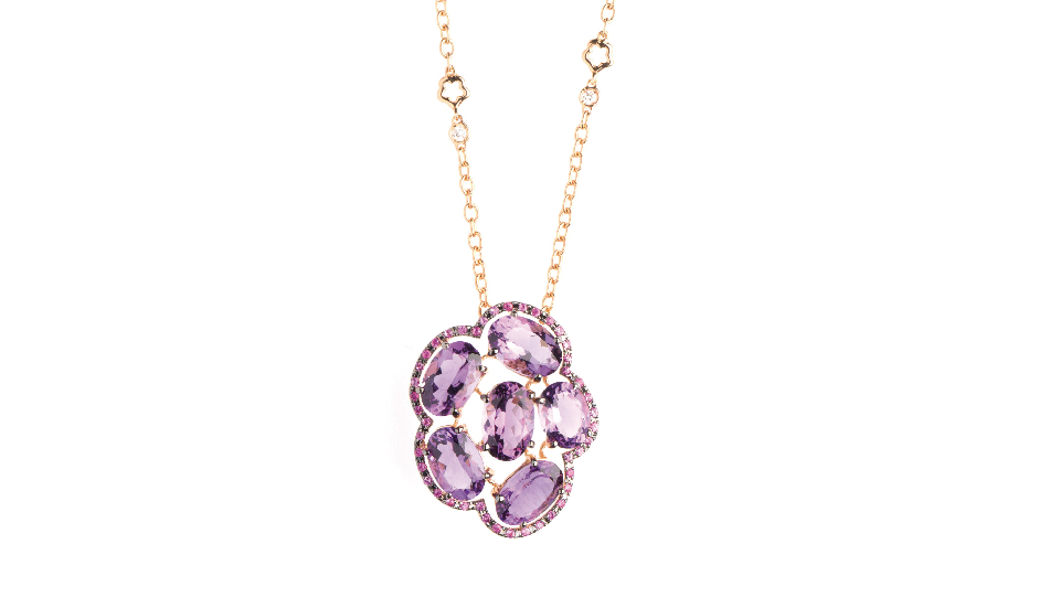 <p>18kt pink gold pendant with amethyst and diamonds</p>