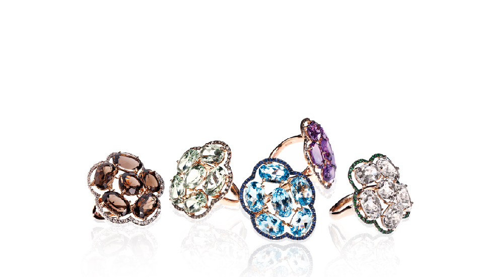 <p>18kt pink gold rings with smoky quartz, prasiolite, blue topaz, amethyst, crystal rock, tsavorite and white or brown diamonds</p>