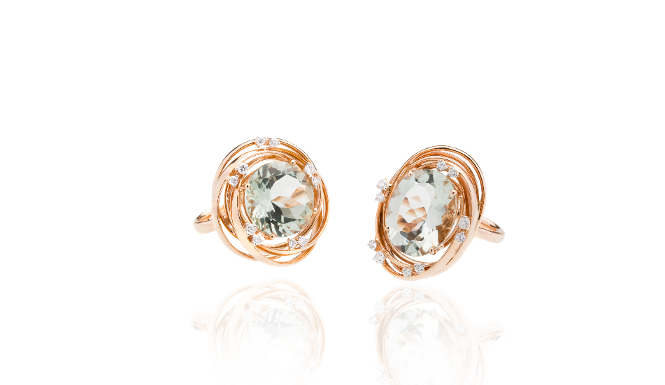 <p>18kt pink gold rings with prasiolite and diamonds</p>