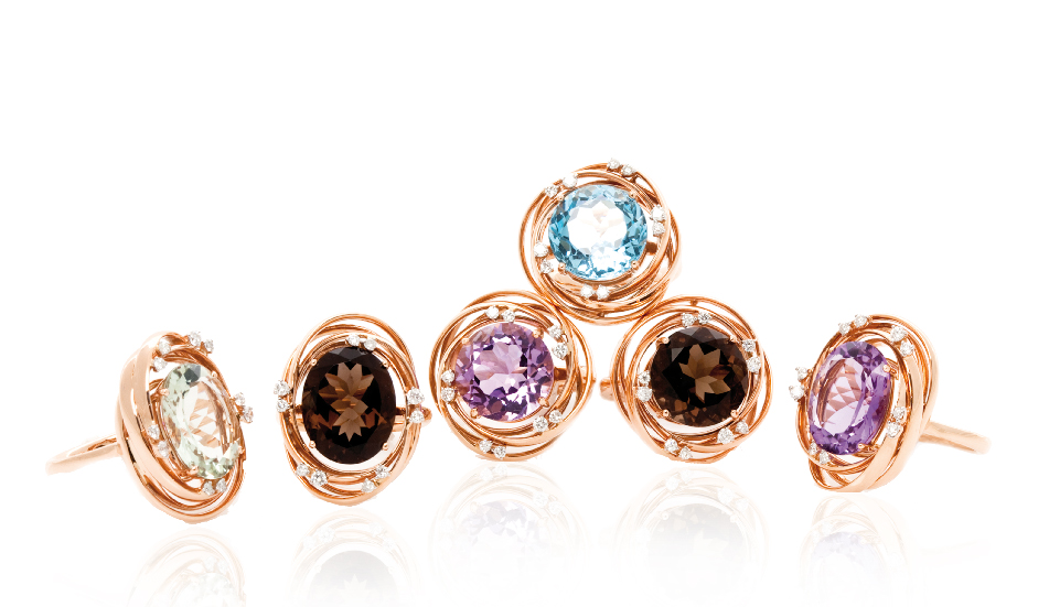 <p>18kt pink gold rings with smoky quartz, prasiolite, blue topaz, amethyst and diamonds</p>