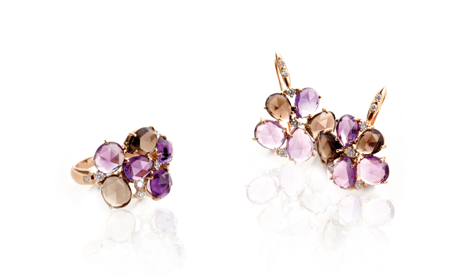 <p>18kt pink gold ring and earrings with amethyst, smoky quartz and diamonds</p>