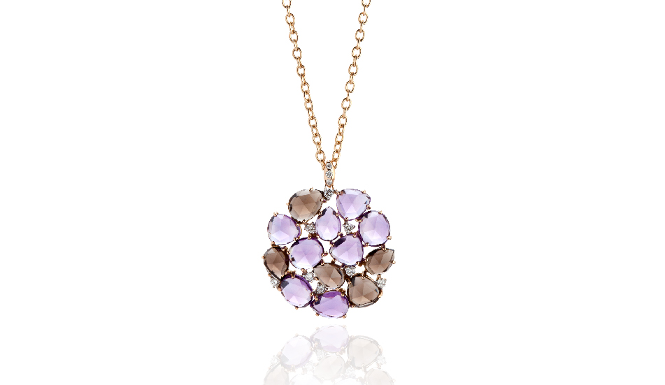 <p>18kt pink gold pendant with amethyst, smoky quartz and diamonds</p>