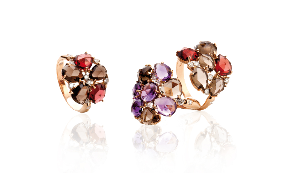 <p>18kt pink gold rings with amethyst, smoky quartz, garnet and diamonds</p>