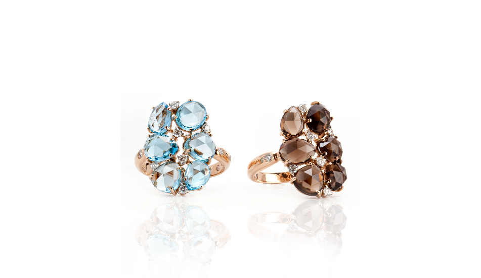 <p>18kt pink gold rings with blue topaz, smoky quartz and diamonds</p>