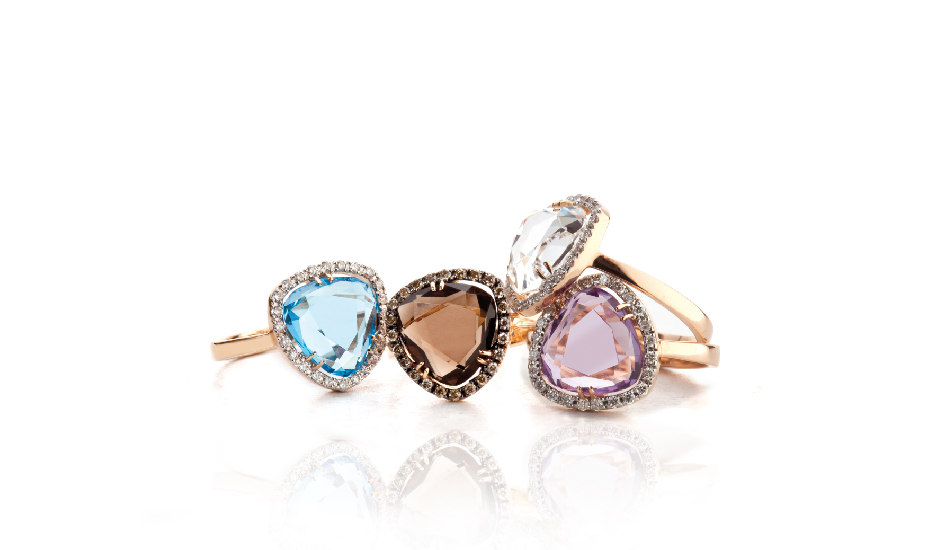 <p>18kt pink gold rings with blue topaz, smoky quartz, amethyst, crystal rock and diamonds</p>